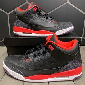 Air Jordan 3 Crimson Basketball Shoes Size 14